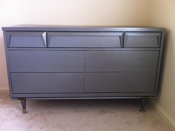 gunmetal gray midcentury modern dresser