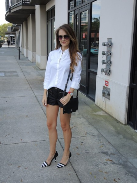 quilted leather shorts and the perfect white button down shirt