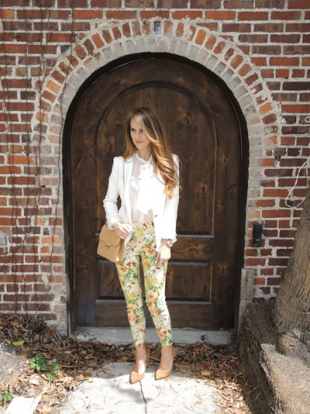 floral pants styled with cream blazer