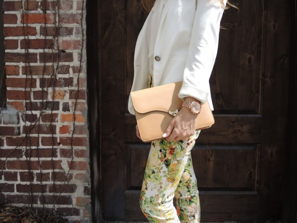 camel vintage bag with rose gold watch