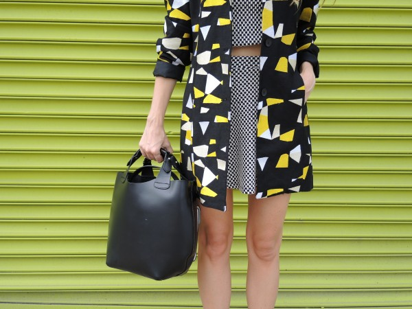 black white yellow coat vintage
