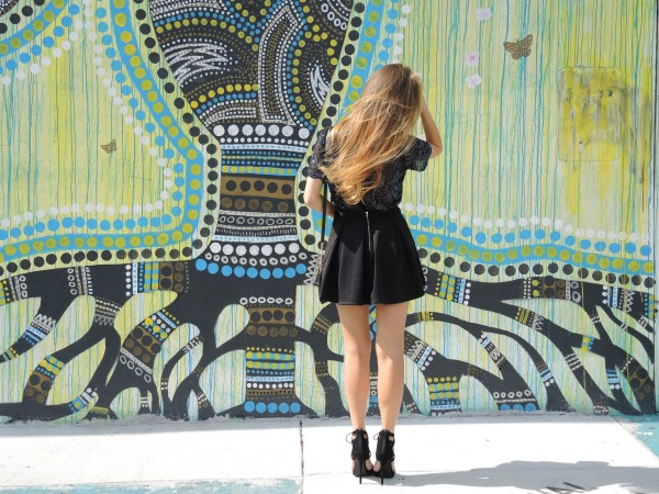 black sequin blouse, black beaded blouse, how to style vintage clothing, wynwood miami style