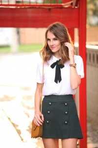 tie neck blouse with skirt, white top with black tie, white blouse black tie with skirt, korean school girl style, chloe style