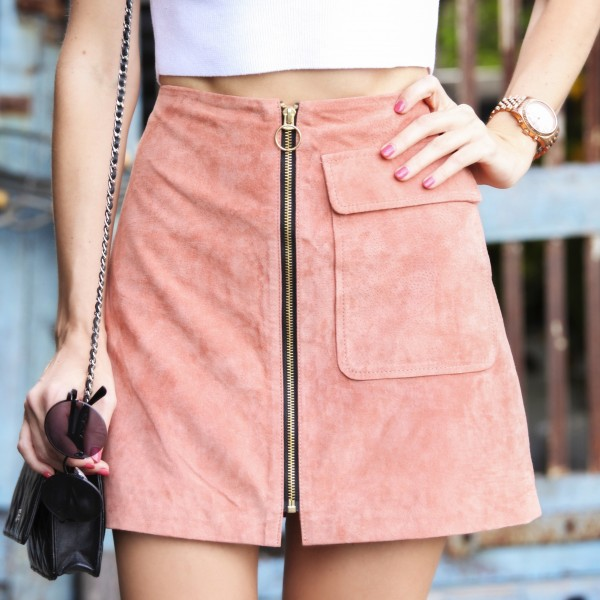 pink a-line suede skirt