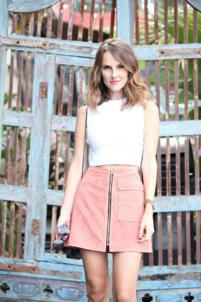 pink suede a-line skirt forever21