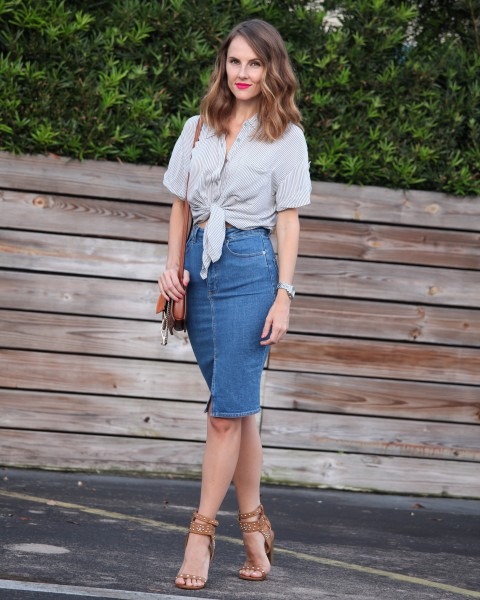 How to style a denim midi skirt | Global trend skirt blog