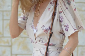Light Pink Floral Wrap Dress