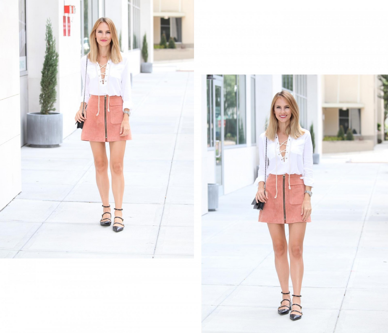 blush+pink+suede+zip+front+skirt