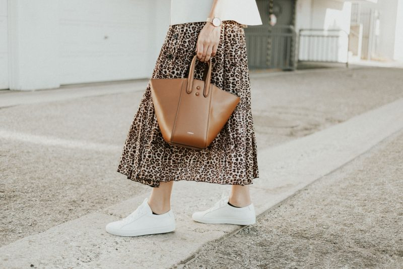 how to style a leopard midi skirt