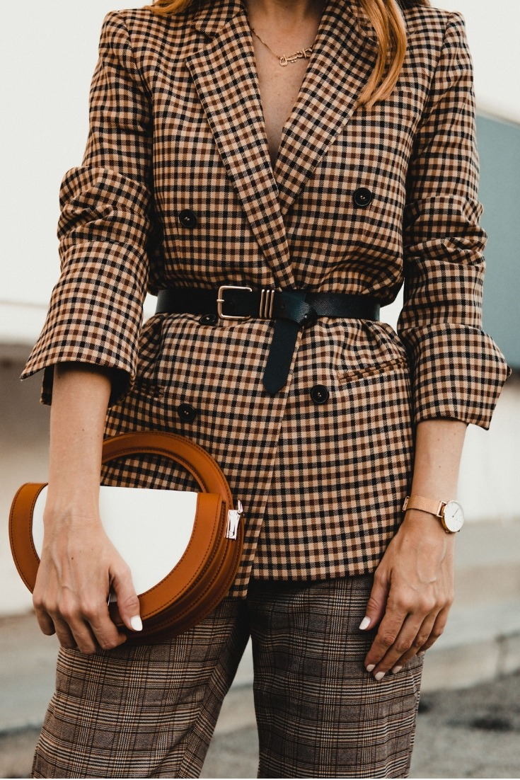 plaid on plaid suit, plaid on plaid women's street style, how to wear plaid with plaid, how to style a women's suit, belt bag street style, danielle hastings, los angeles style blogger