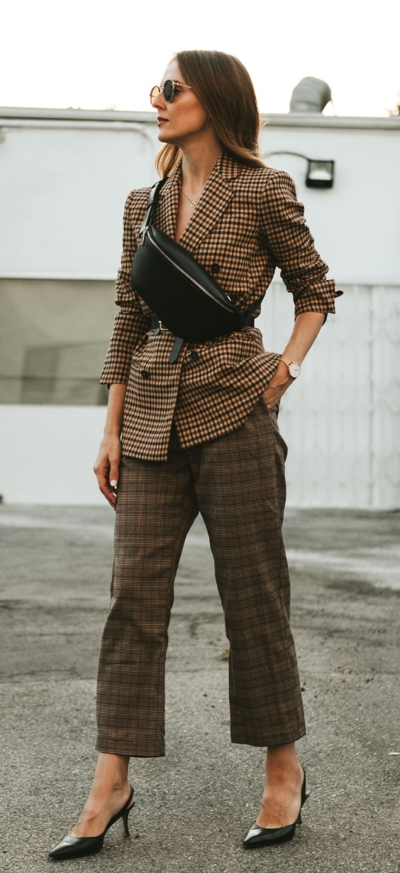 plaid on plaid suit, plaid on plaid women's street style, how to wear plaid with plaid, how to style a women's suit